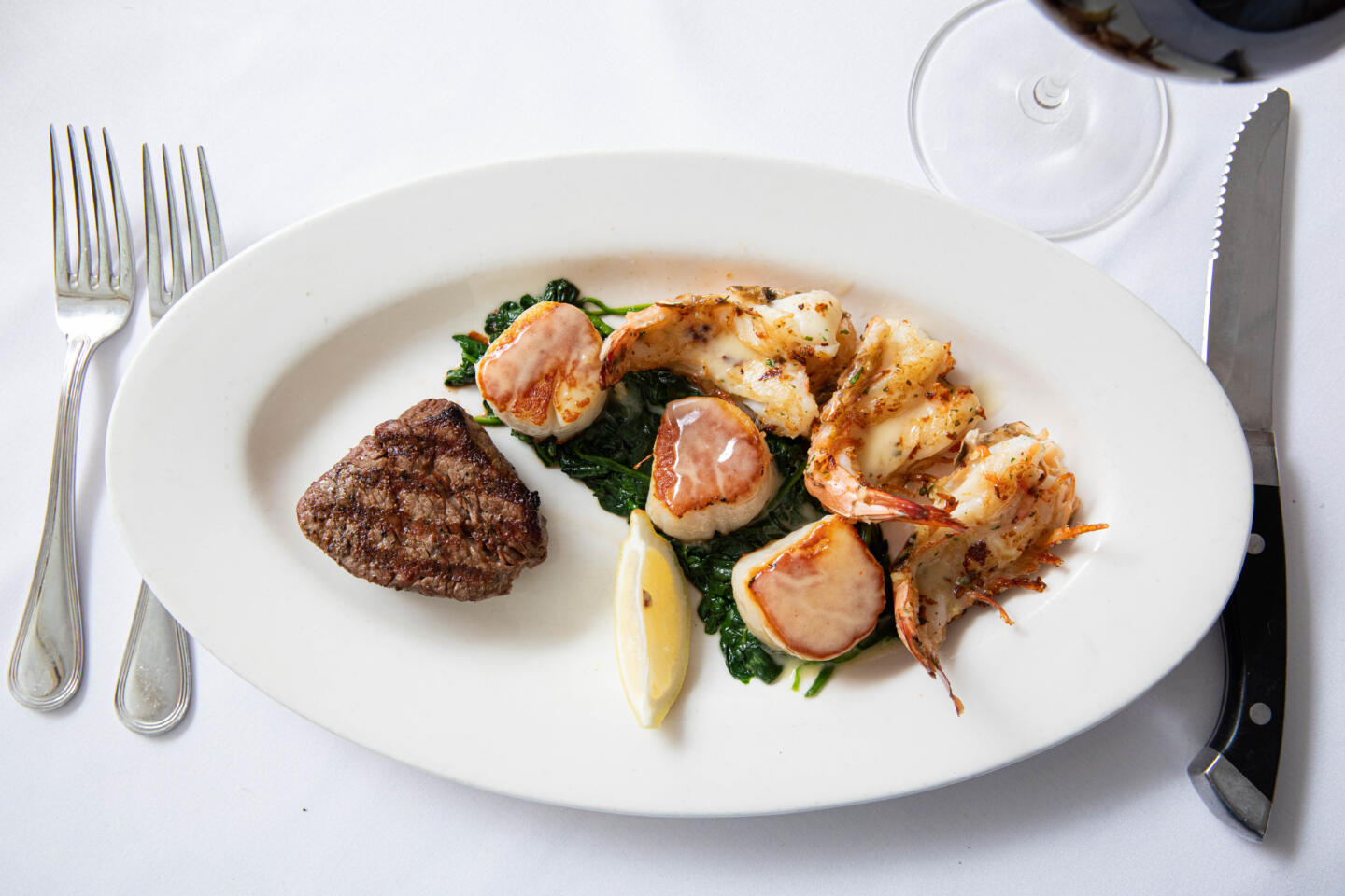 Shaws scallops and steak and shrimp