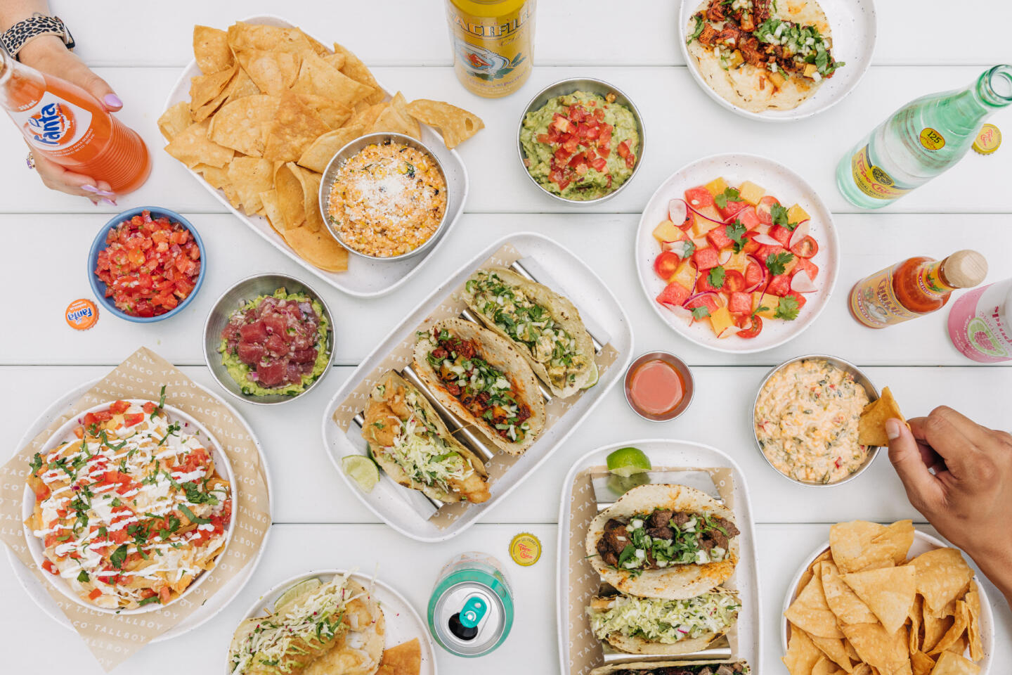 Tallboy Taco dishes on the patio