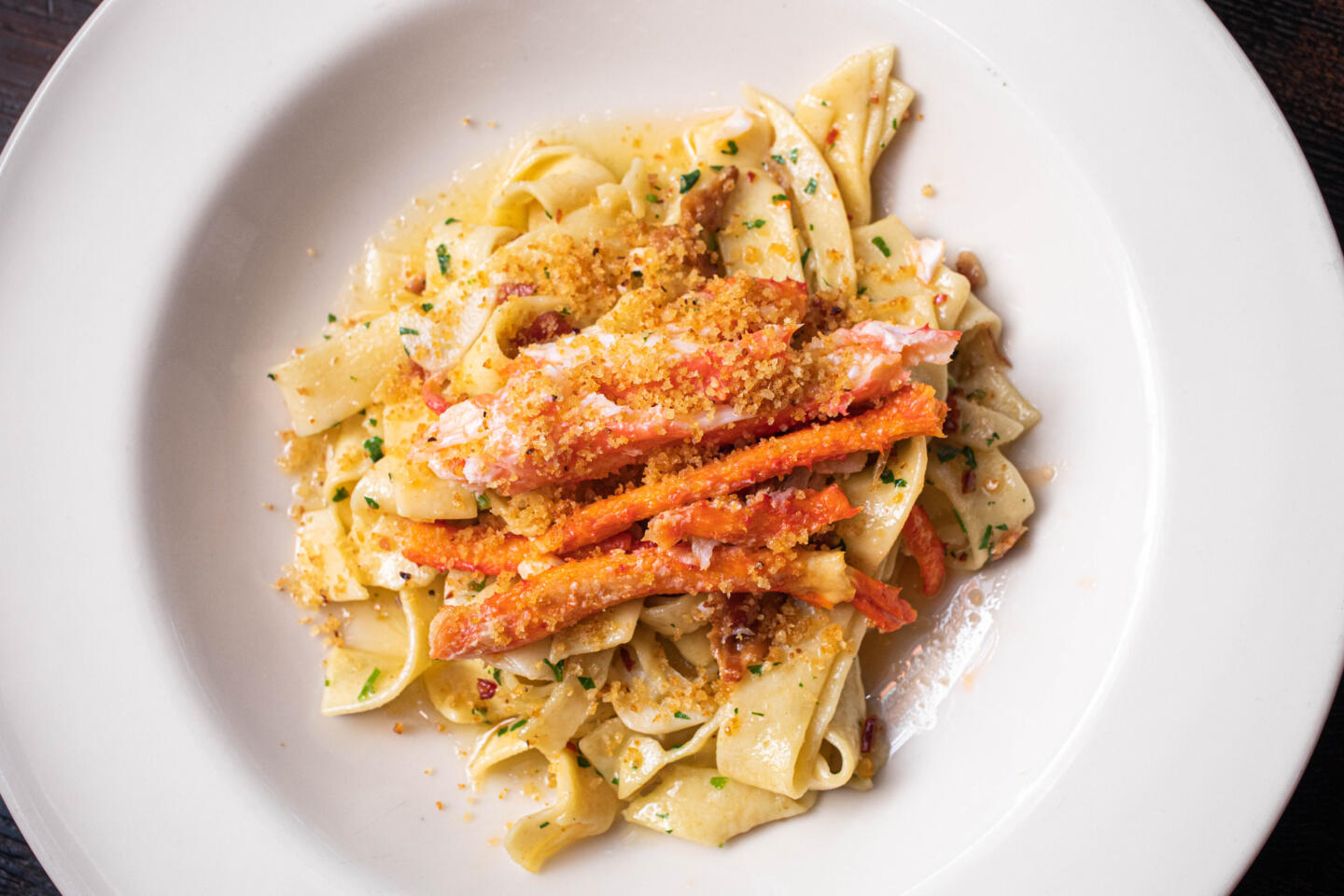 seafood pasta from quality crab