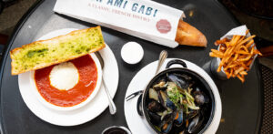 Mon Ami Gabi Baked Goat Cheese and Half Pot of Mussels
