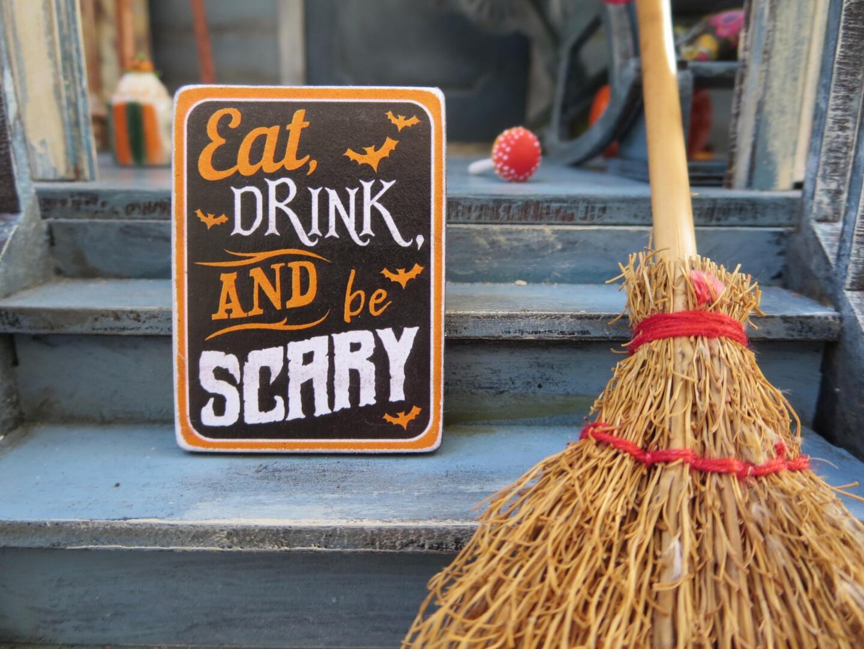 Halloween Sign & Broom on Stairs