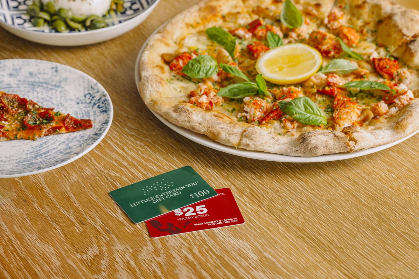 gift cards at portofino with pizza