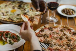 Osteria Via Stato Local Asparagus and Sausage Pizzas
