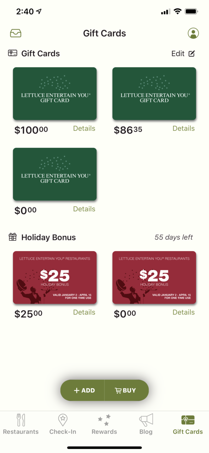 Gift cards in the Lettuce Eats App