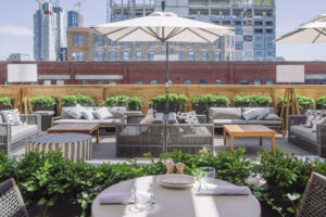 Rooftop seating at Aba