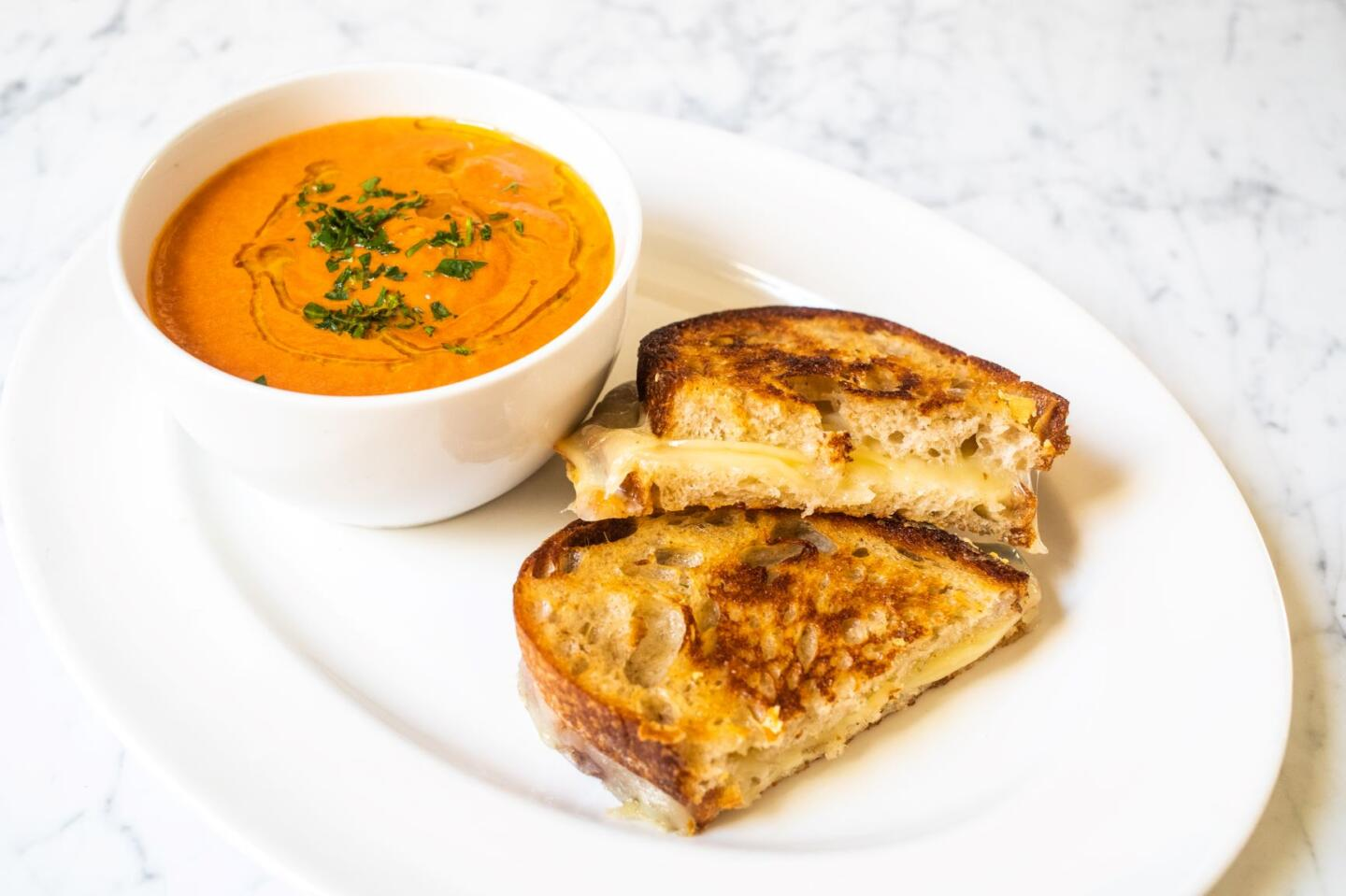 Herbed Tomato Soup with Grilled Cheese from Summer House