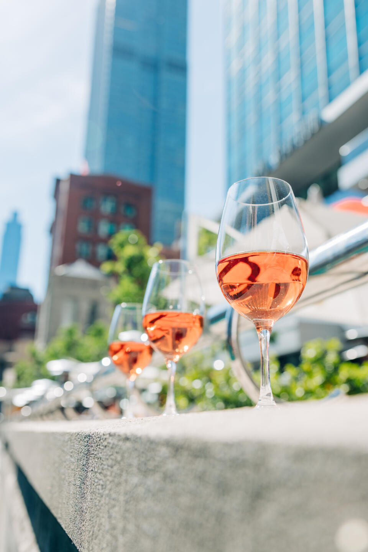 Glasses of Rose at Pizzeria Portofino