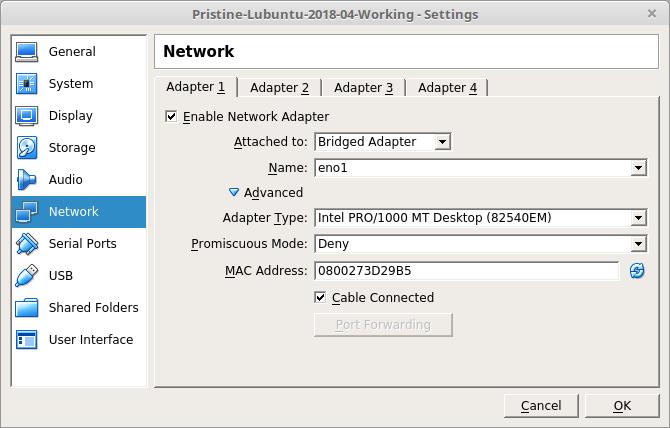Bridged Adapter in VirtualBox