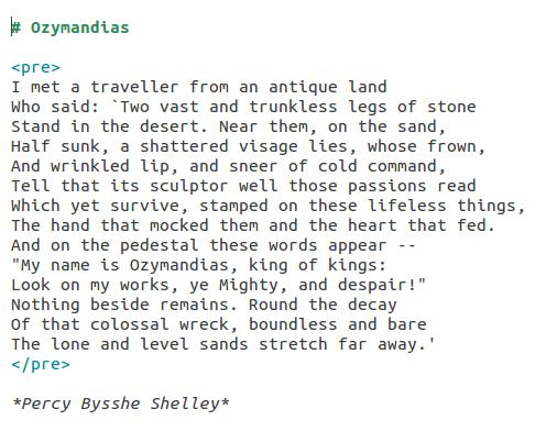 Ozymandias as Markdown