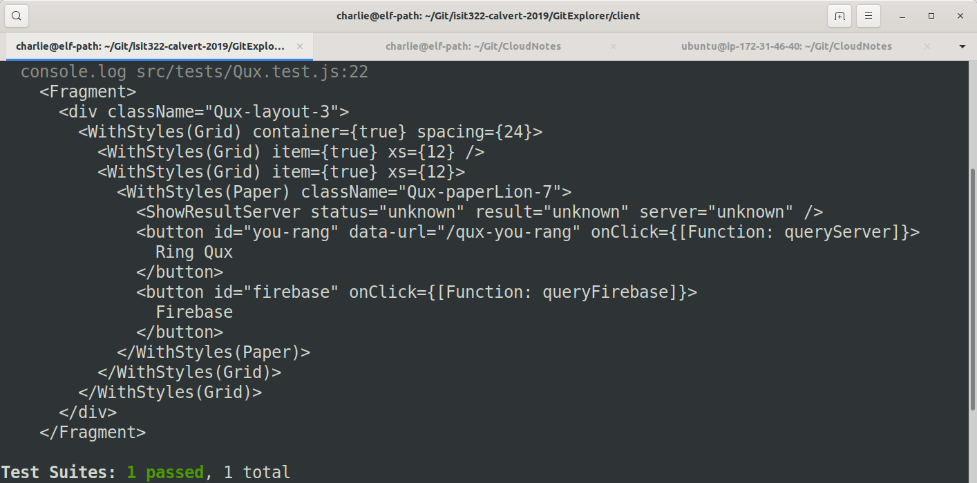 Enzyme Debug output showing JSX from our component