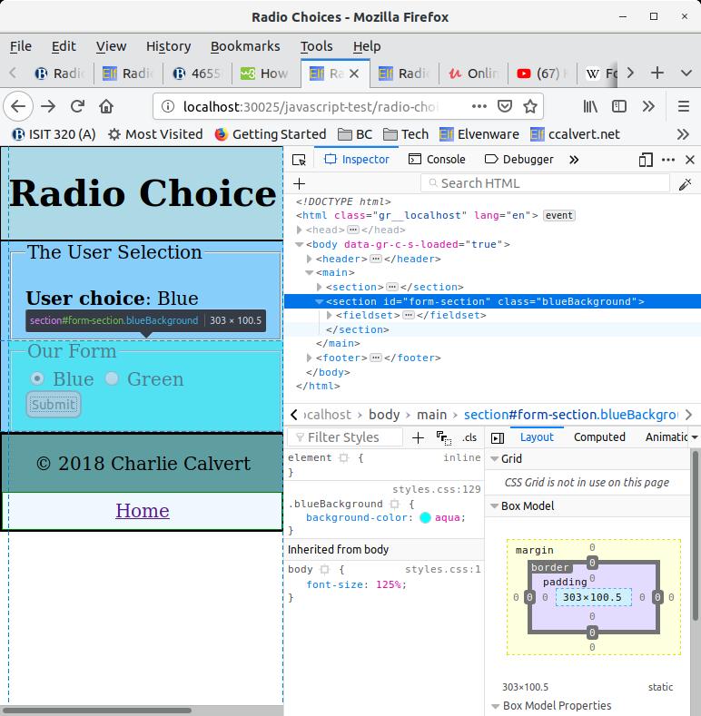 Radio choices in Firefox