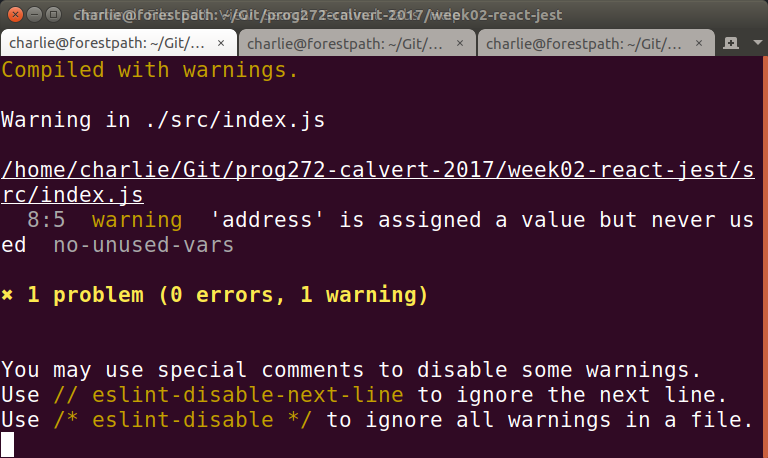 Same warning from command line