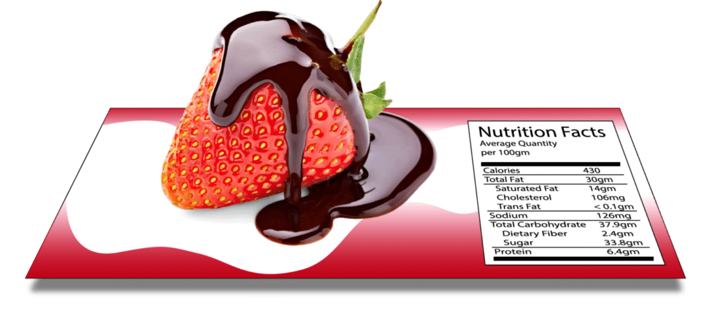 Strawberry pop out from food label