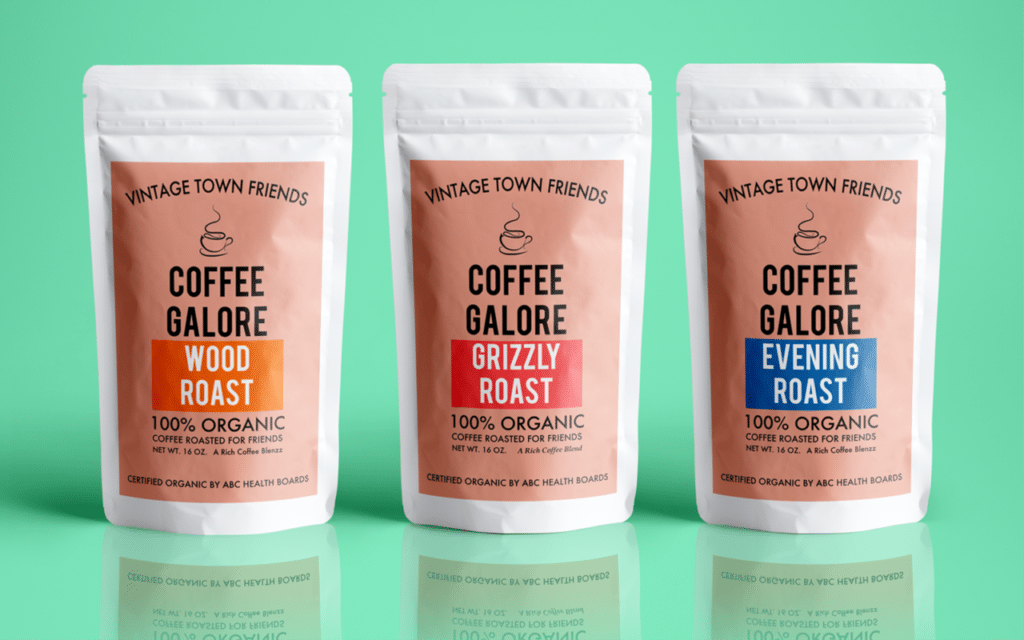 Different coffee bag labels printed with digital printer
