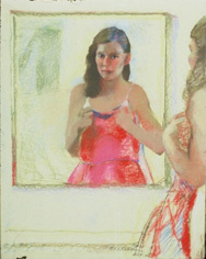"""Reflection of a Red Dress"""