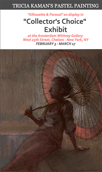 "Exhibit Announcement showing the ""Silhouette & Parasol"" Pastel Painting"