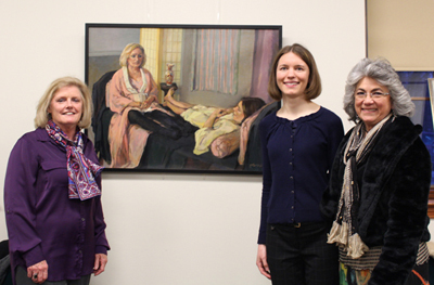 "Mary Hanson, Sarah Bryan, and Tricia Kaman with oil painting ""Conversations with Mary & Sarah"""