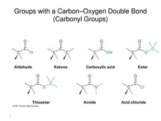 Groups with a carbon oxygen double bond carbonyl groups n