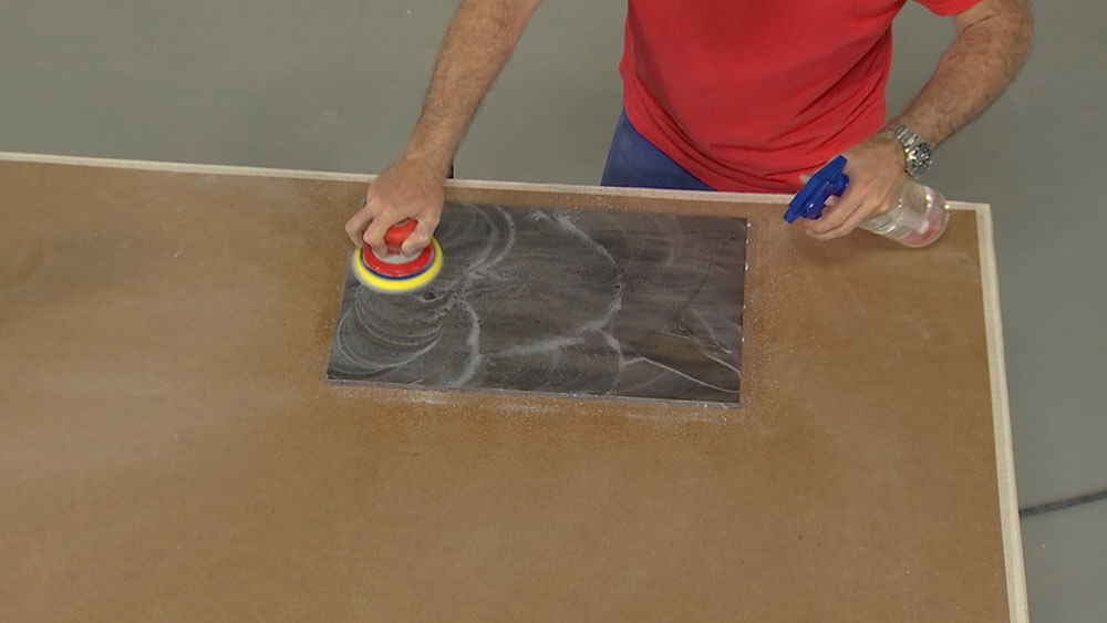 Wet Sanding Solid Surface with an Orange Trizact Sheet