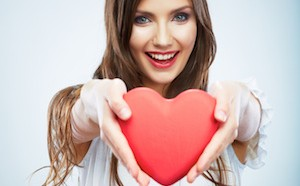 beautiful happy woman with heart