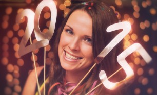 girl with 2015 happy new year