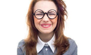 Funny geek or loony girl
