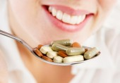 woman with supplements