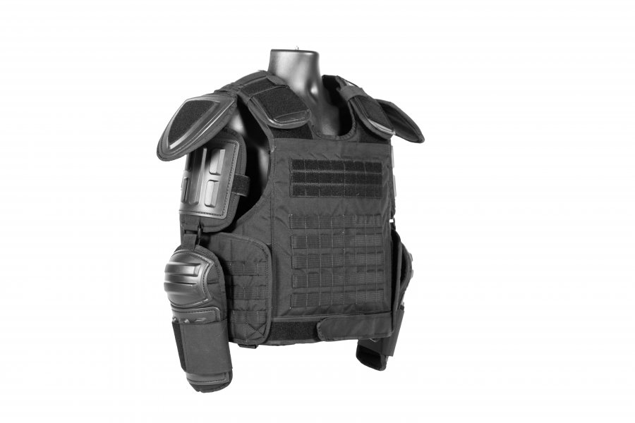 Haven gear riot suit with riot protective gear and panels.