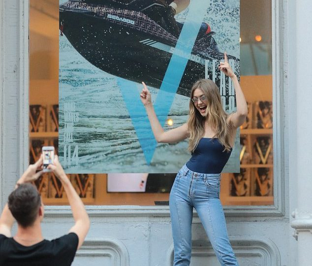 Gigi Hadid 'Fangirls' in front of her V-Magazine Cover aboard the Fendi branded Sea-Doo RXP-X watercraft. look marketing