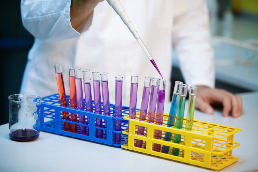 Demonstration of full pH scale in test tubes in a laboratory