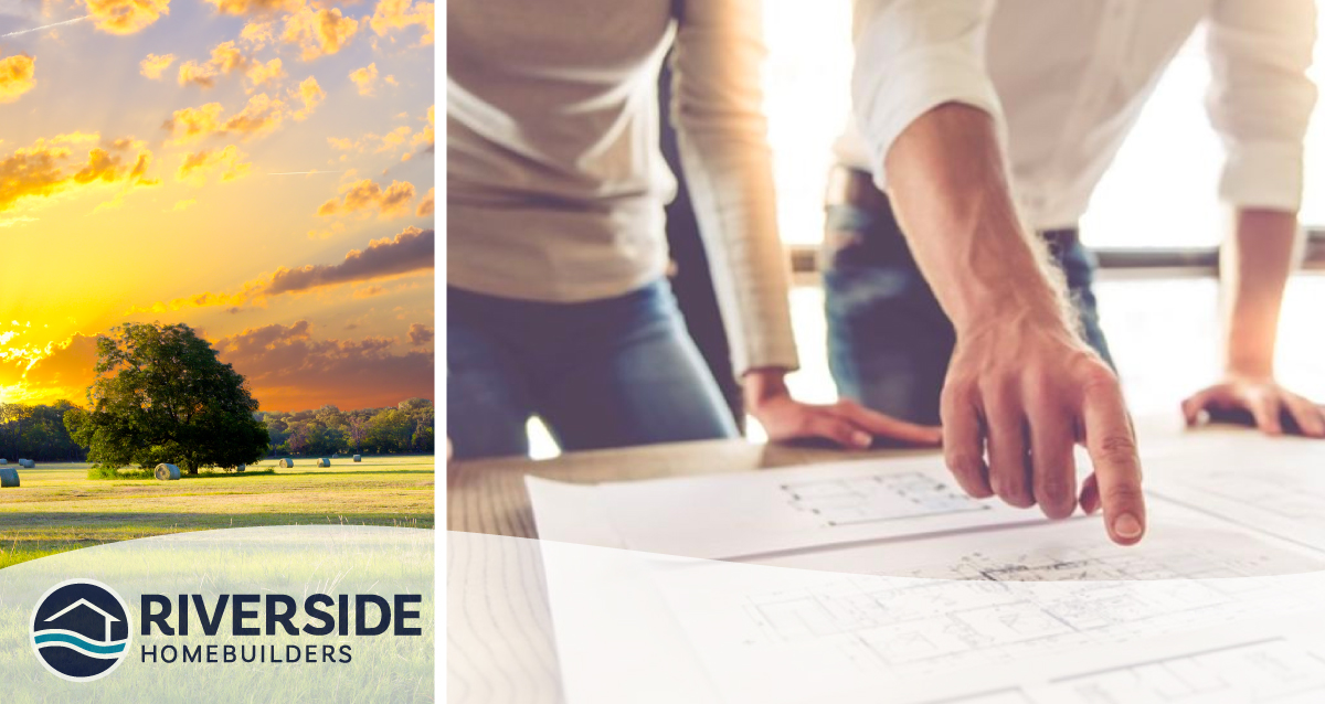 Two image collage. Image on left is of a sun setting over a landscape. Image on right is of two people looking at blueprints.
