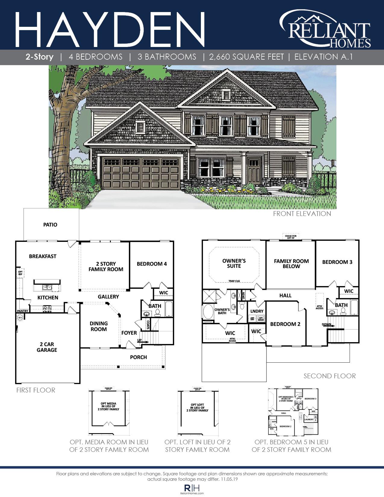 The Hayden Front Entry Floor Plan Reliant Homes
