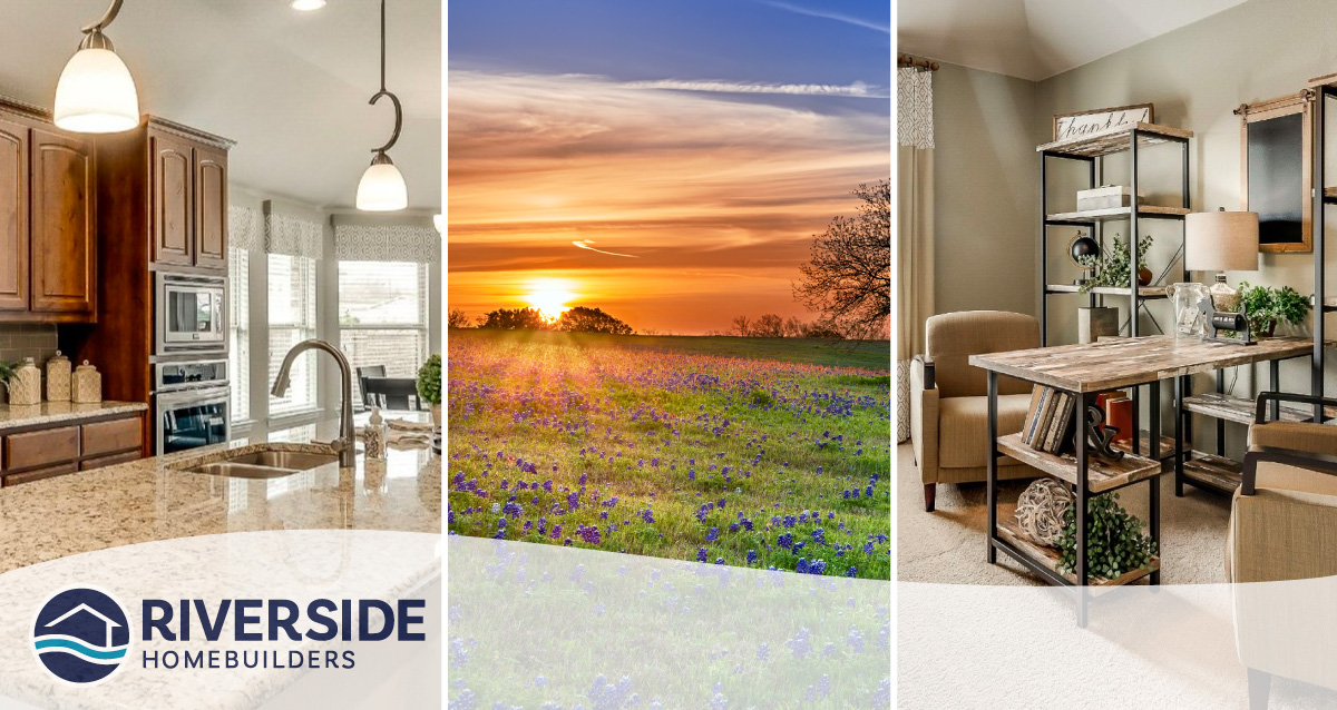 3 image collage. Image on left is of a Riverside kitchen. Image in middle is of a sun setting over a field. Image on right is of a home office.