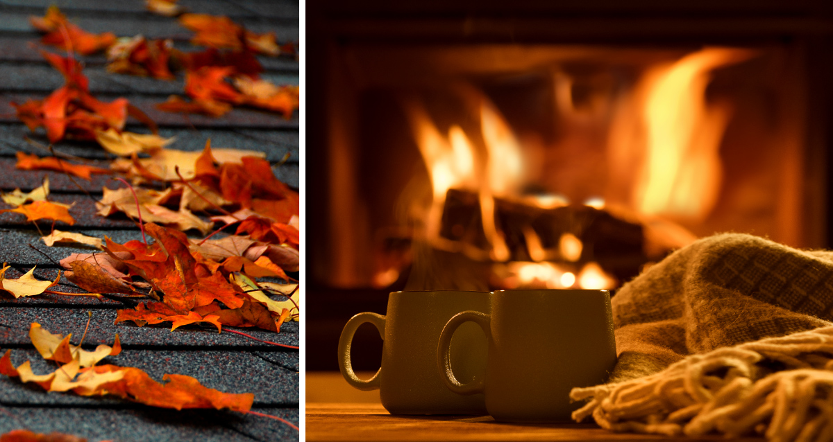 Two photo collage. Photo on left is of fall leaves on a roof. Photo on right is of a fire in a fireplace.