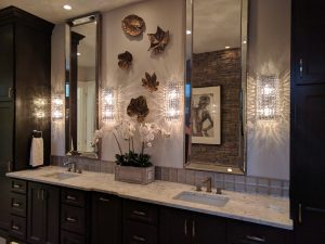 One Part of The Master Bath - The Twin Vanities and Built-In Custom Cabinetry from Northwood  Cabinets