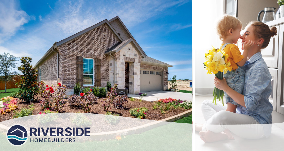 Two image collage. Image on left is of Silverstone at Pearson Ranch model home. Image on right is of woman holding flowers with her child.