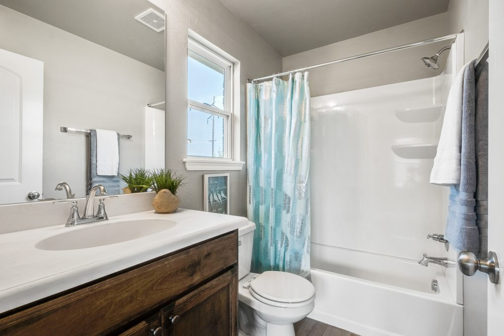Small Bath, Window, Stained Cabinets