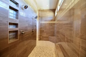 The Roll-In / Curbless ADA Double Shower in The Turtledove's Award Winning Master Wing