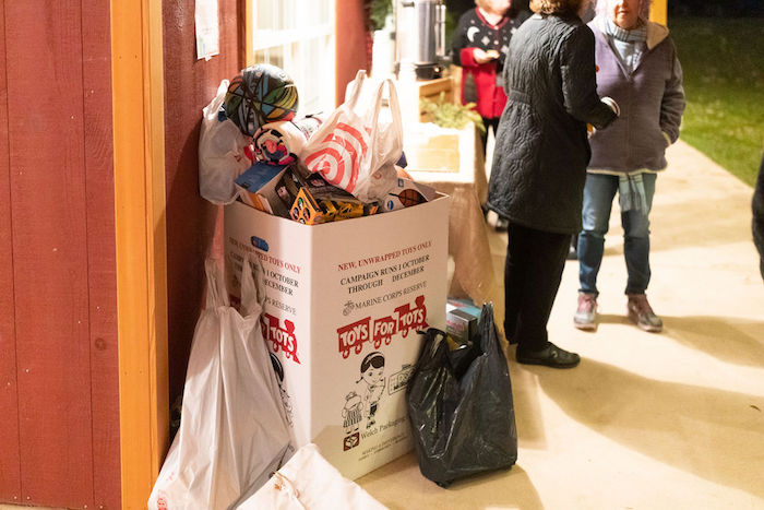 Toys for Tots donation box.