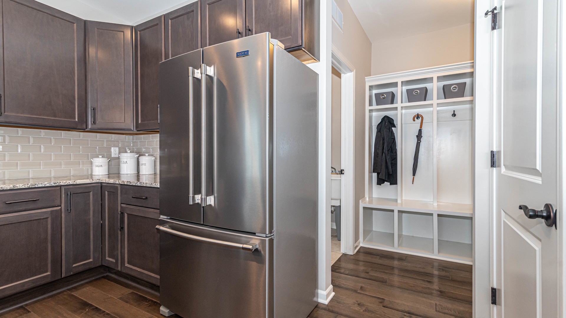 Image of a Norfolk Home mudroom off of the kitchen.