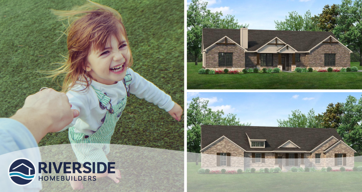 3 image collage. Image on right is of parent holding their daughter's hand. Both images on top and bottom right are renderings of two Riverside Homebuilders homes.