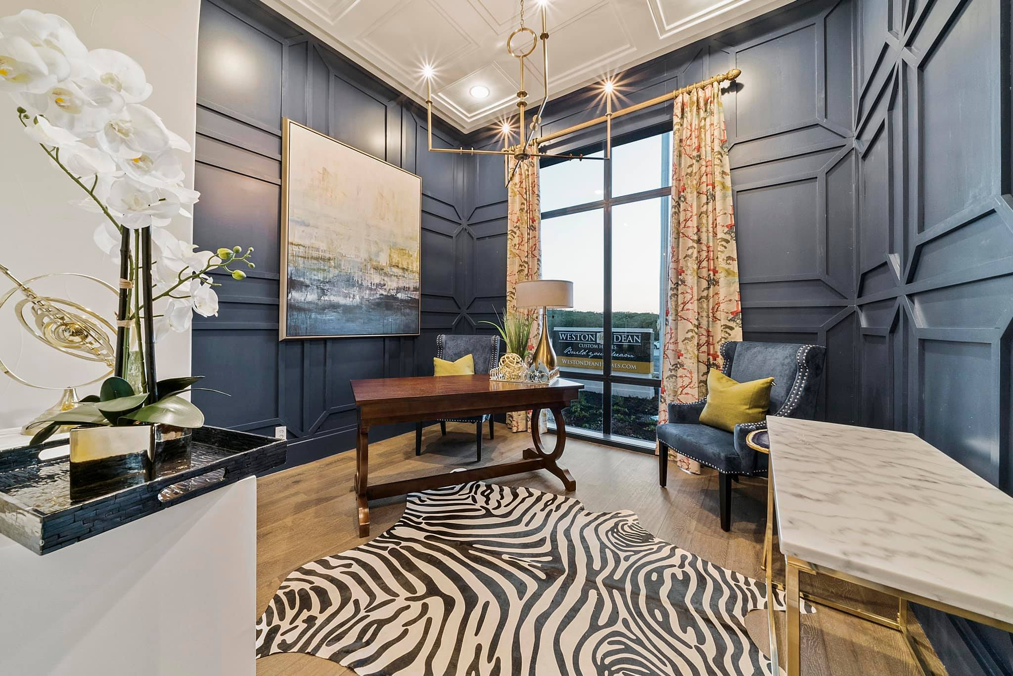 Custom home study with unique design choices