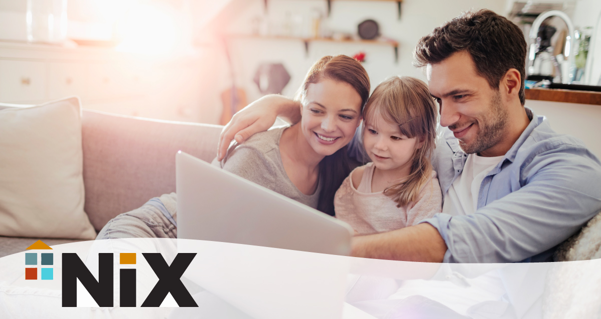 Two parents and their daughter sitting on the couch with a laptop in front of them. Nix's logo is in the bottom left corner.