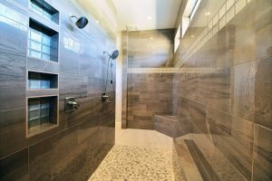 Master Bath with Custom Cabinetry, Rock Accent Wall, ADA/Roll-In Double Shower 2 of 2