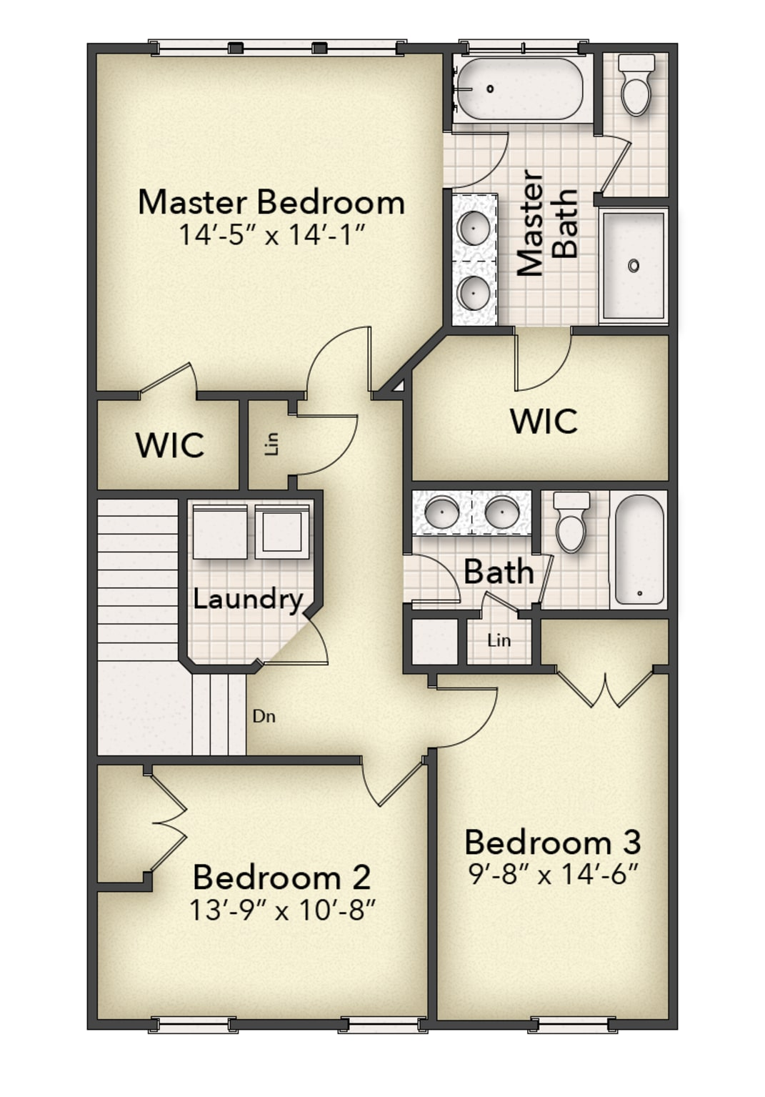 Bishard Homes Monroe Townhome, 2nd floor plan with full bathroom, Willow Winds Condominiums, Virginia Beach New Construction