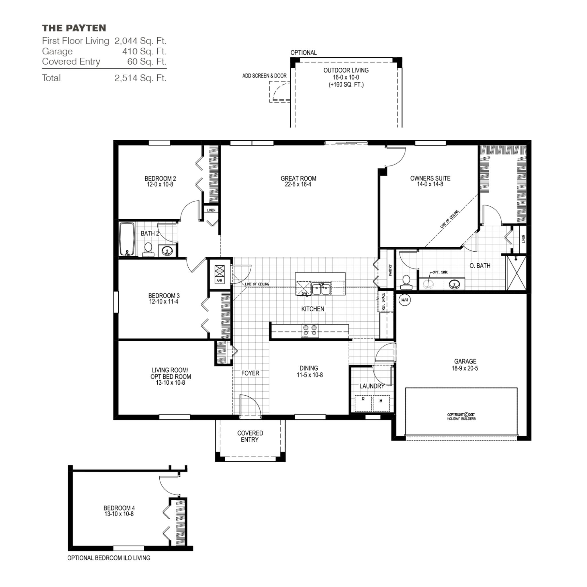 The Payten A Floor Plan In Port St Lucie Holiday Builders