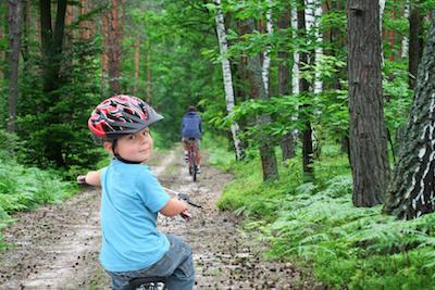 Bike trip through the forest