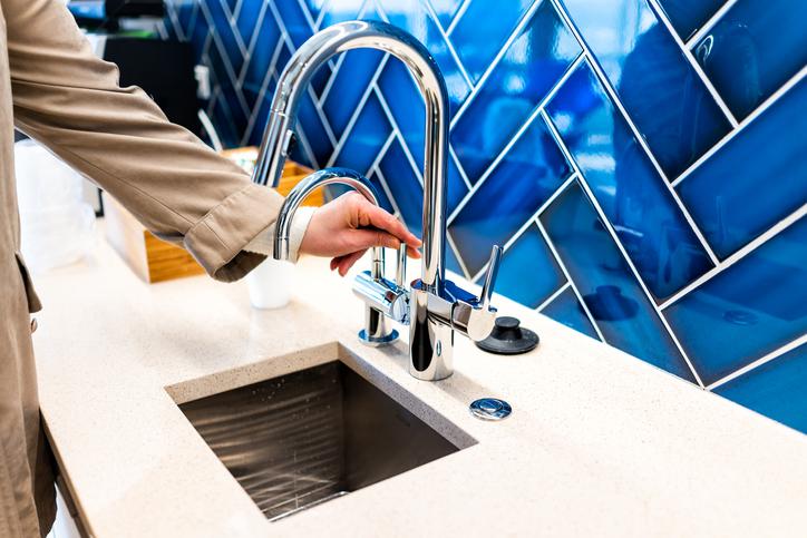 Sink and backsplash.
