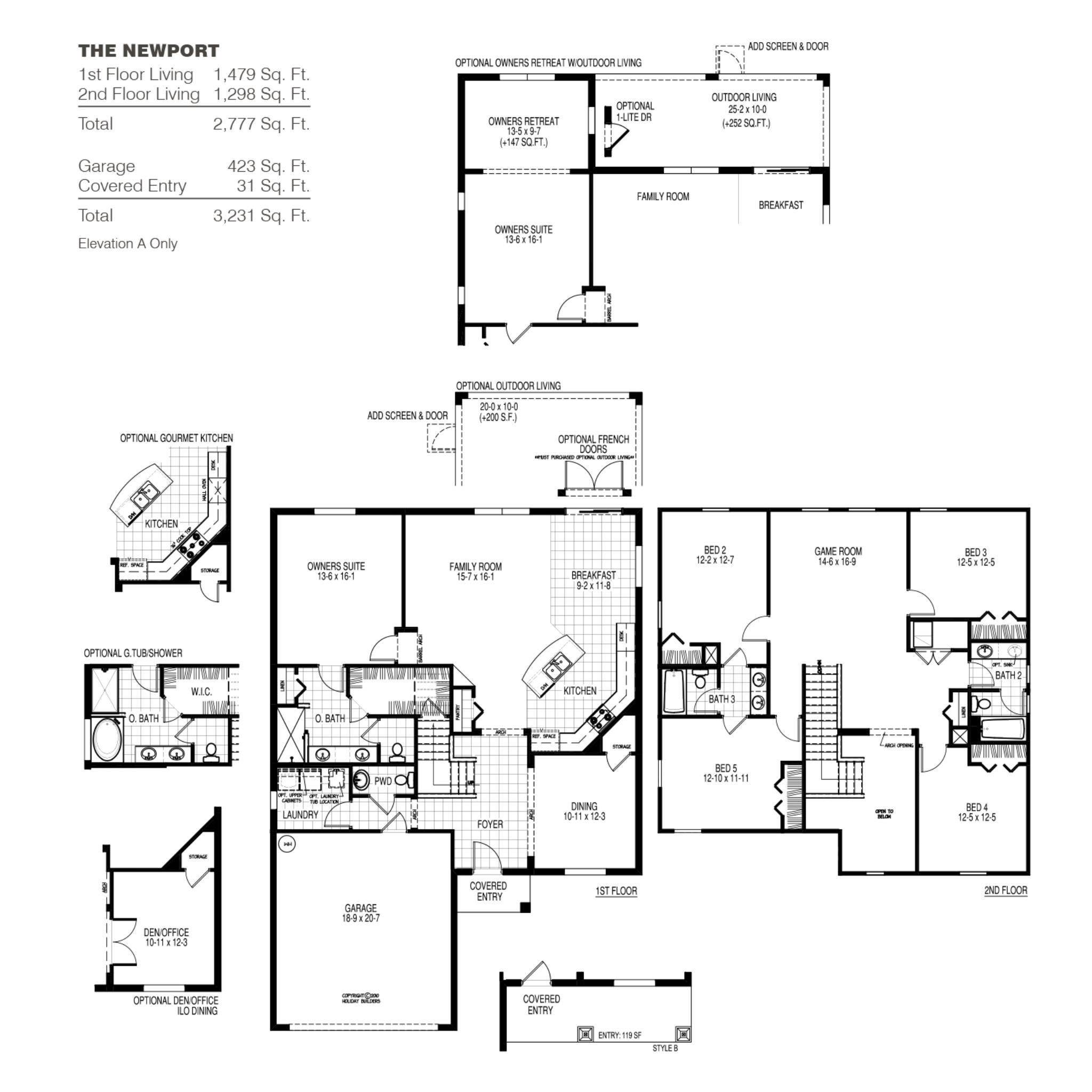 The Newport A Floor Plan in Port St Lucie | Holiday Builders on deck plans, ceiling plans, roof plans, houseboat plans, construction plans, garden plans, lighting plans, foundation plans, framing plans, basement plans, room plans, garage plans, apartment plans,