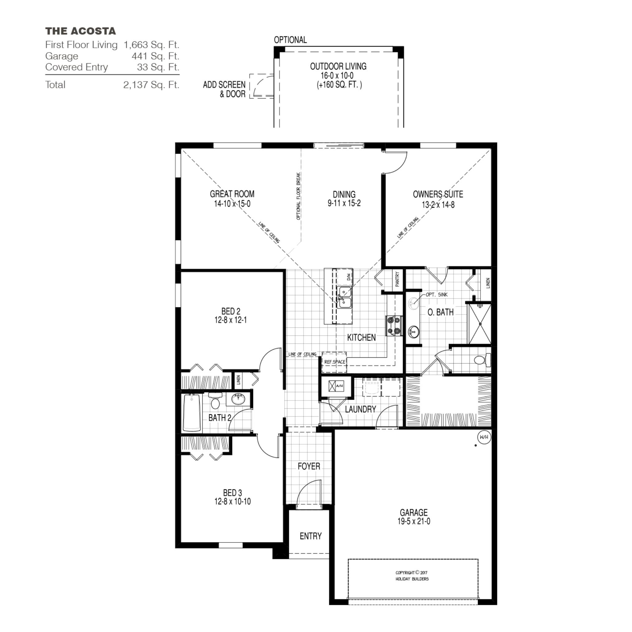 The Acosta A Floor Plan in Sebastian Highlands | Holiday ... on deck plans, ceiling plans, roof plans, houseboat plans, construction plans, garden plans, lighting plans, foundation plans, framing plans, basement plans, room plans, garage plans, apartment plans,